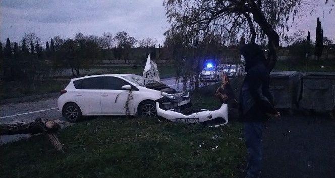 Polis memuru köpeğe çarpmamak için kaza yaptı